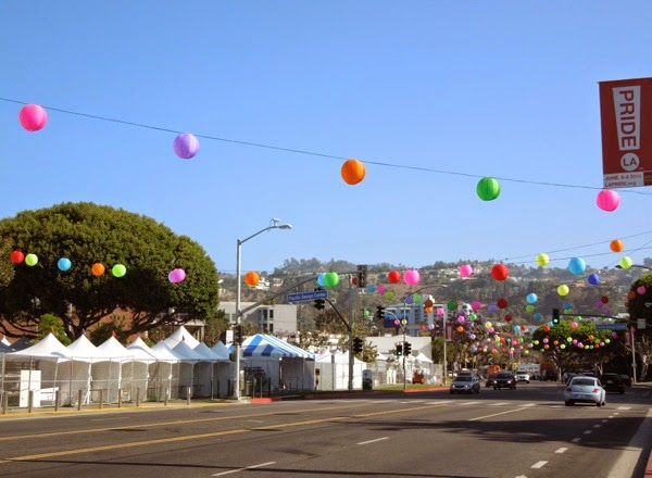 Colourful WEHO Pride paper lantern decorations