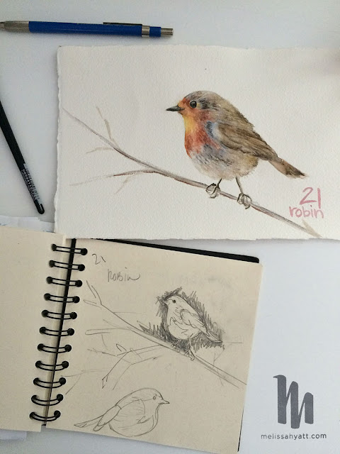 Melissa Hyatt, sketchbook, robin, advent challenge, sketchbook conversations