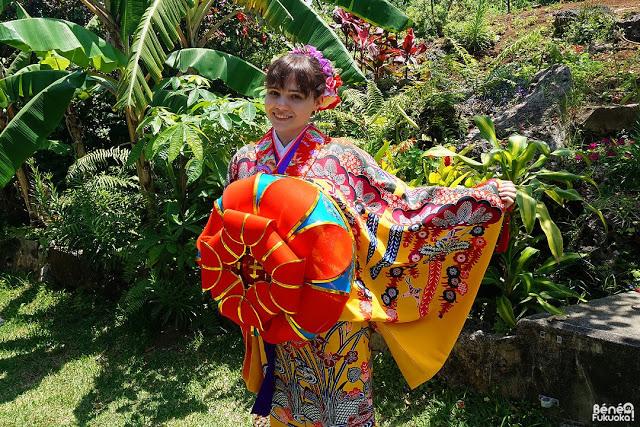 Ryuso (Okinawa kimono) experience, Miyakojima