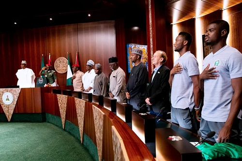 Buhari bids Super Eagles farewell to Russia 2018 World Cup (Pics)