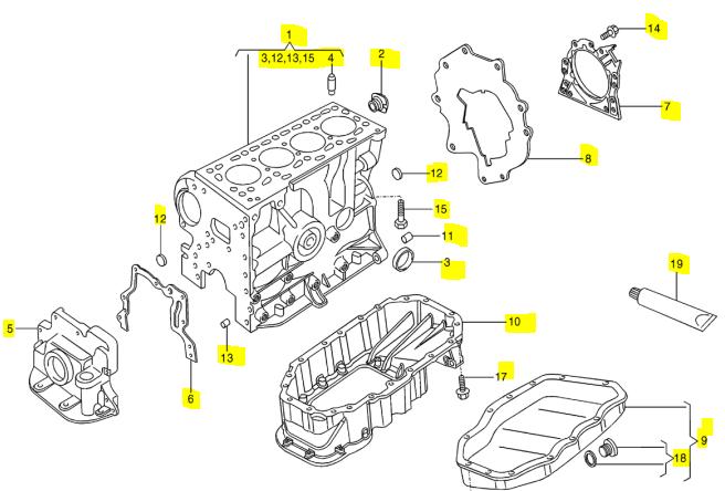 2013 vw passat diagrama del motor