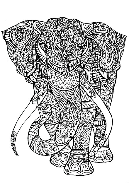 Printable Elephants On Elephants   Source  Animal Mandala Coloring  Pages