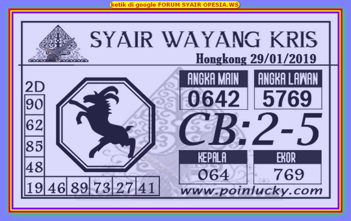 Kode syair Hongkong Rabu 29 Januari 2020 205
