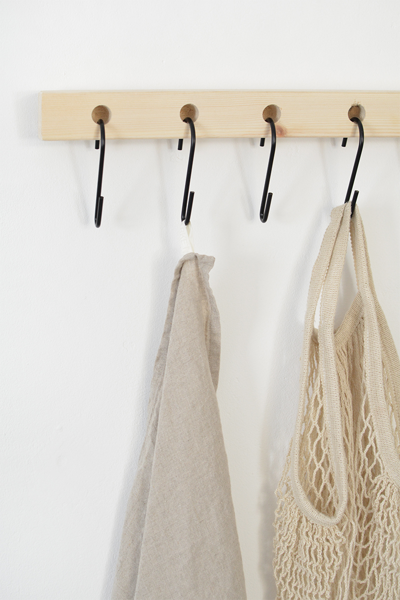 modern DIY shelf with hooks