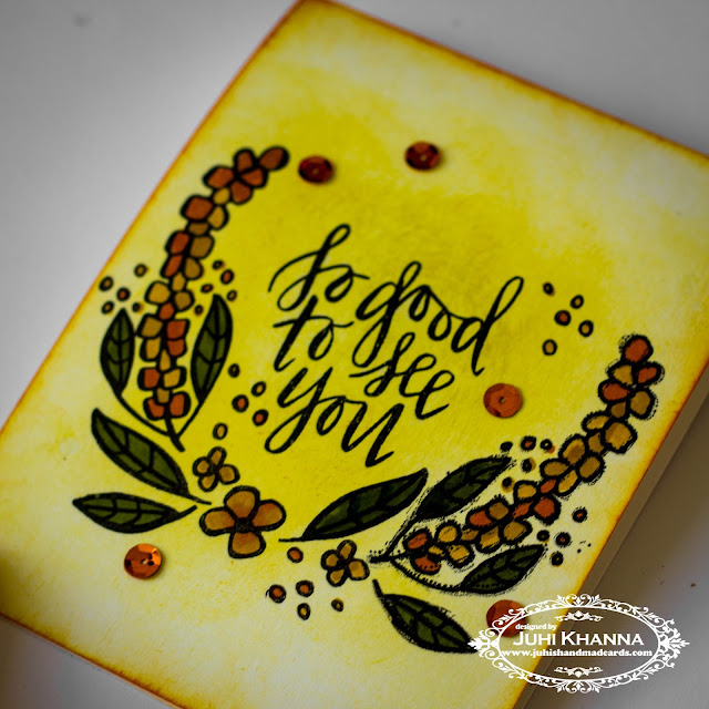 One layered, stamped card using Neat and Tangled So Good to see you set. Features mirror stamping, where a mirror image of the flower stamp is stamped on the other side to create the half wreath. Image colored with distress markers