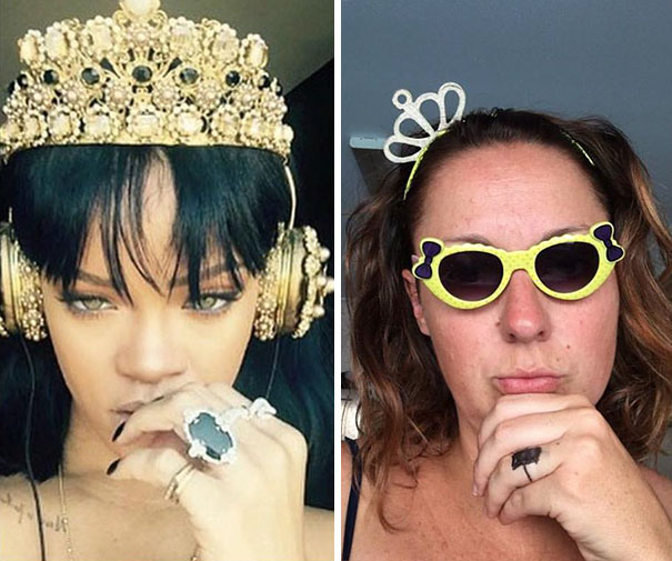 Woman Hilariously Recreates Celebrity Instagram Photos (Part 2) - Accessorise Ladies, No Matter What Your Budget