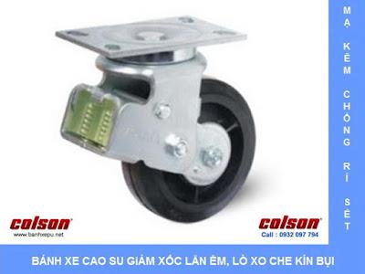 Bánh xe công nghiệp cao su đặc chống xóc chịu lực (350~400kg) www.banhxepu.net