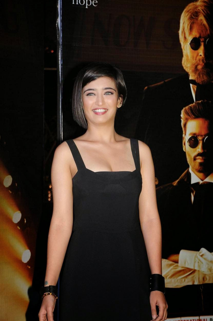 Actress Akshara Haasan Latest Cute Hot Black Dress Spicy Photos Gallery At Shamitabh Movie 2nd Trailer Launch