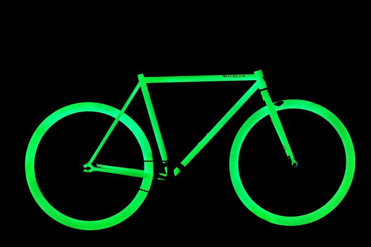 Pure Fix Cycles Glow in the Dark Fixed Gear Single Speed Urban Fixie Bike, stand out and be seen at night cycling