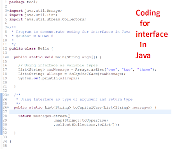 Programming for Interface not implementation code example