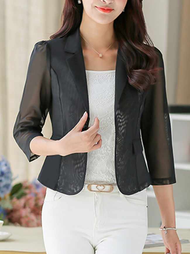 Notch Lapel Hollow Out Plain Blazer