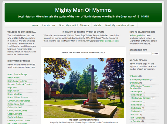 The front page of the new Mighty Men of Mymms website