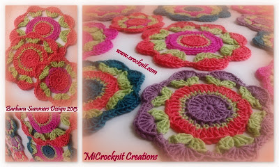 crochet coasters spring blossoms orange purple green pink