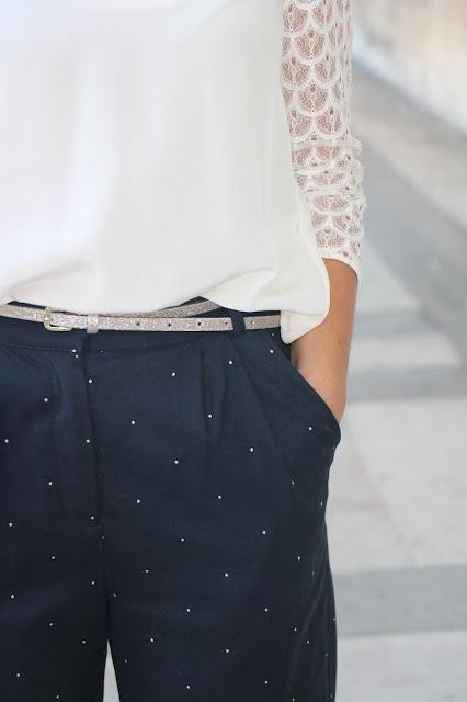 pantalon bleu blanc