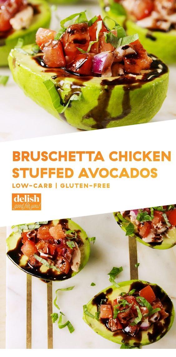 Bruschetta Chicken Stuffed Avocados