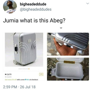 Man Orders Suitcase From Jumia , What He got will make you Laugh All Day!!