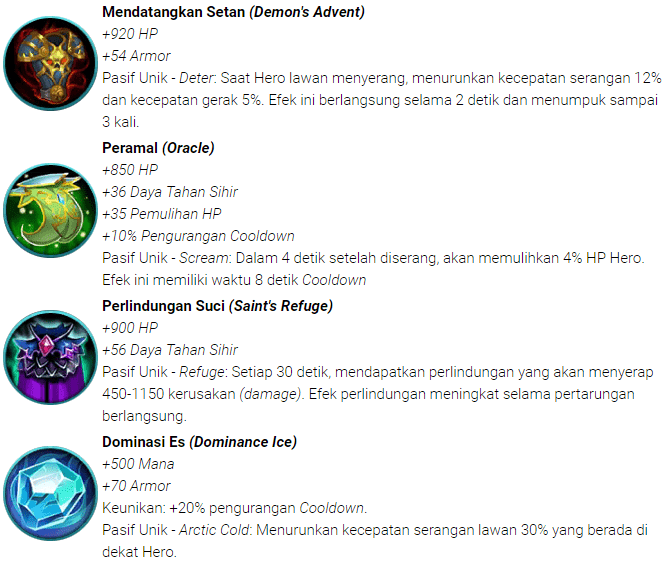 Item (Defense) Pertahanan Mobile Legends : Bang bang
