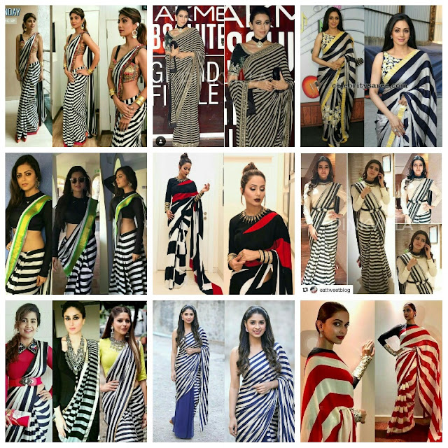 Saree with stripes, bollywood actress in stripe saree, bollywood actress in monochrome sarees, black and white sarees, television actress in monochrome saree, TV actress in black white stripe saree,