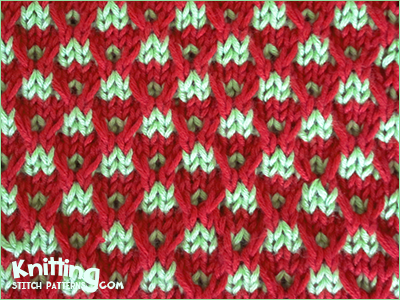 The Slip stitch Crosses stitch pattern is looks very unique when two contrasting colors are combined and is not difficult as looks. Knitted in a multiple of 6 sts and a 8-row repeat.