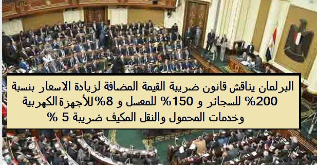 البرلمان يحدد الضريبة المضافة لزيادة الاسعار 200% للسجائر ، 8% للاجهزة الكهربية و5% للأدوية