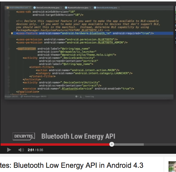 Bluetooth Low Energy API in Android 4 3 (DevBytes