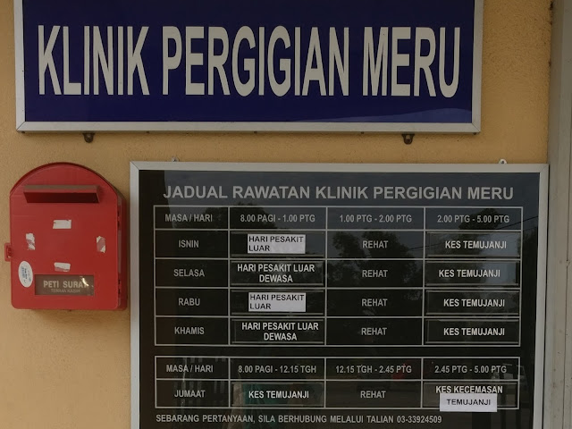 Jadual Rawatan Klinik Pergigian Meru