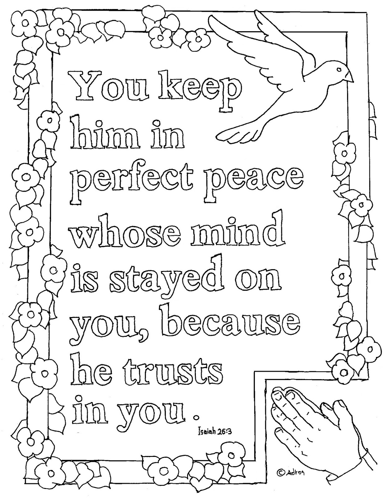 coloring pages for kids by mr adron printable isaiah 26 3