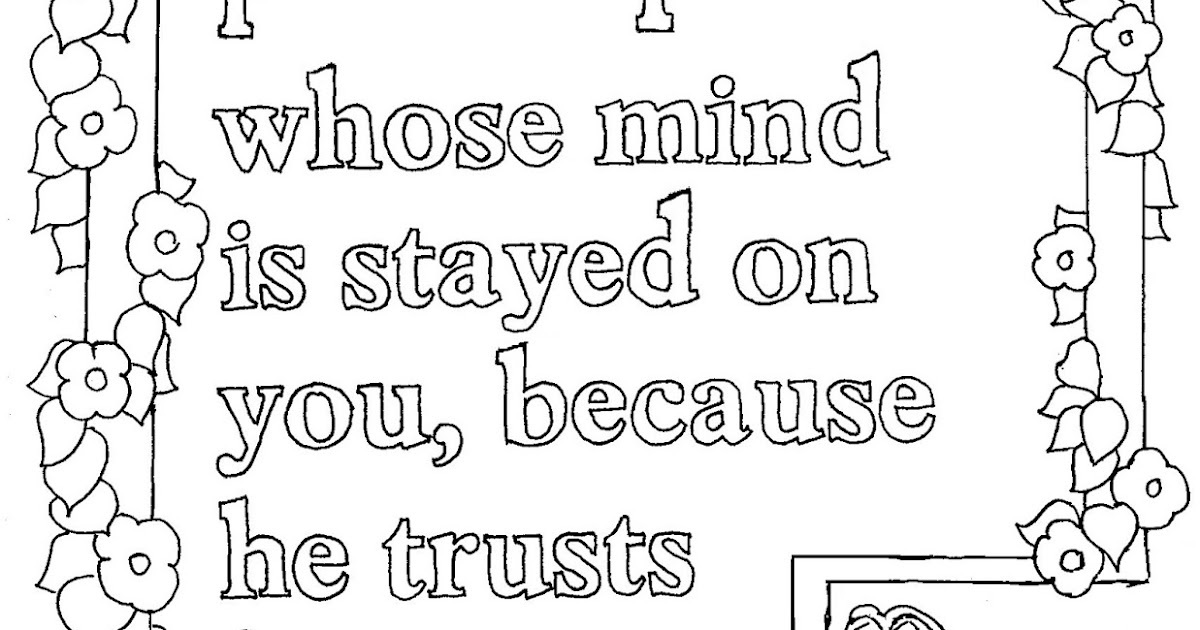 Coloring pages for kids by mr adron printable isaiah 26 for Isaiah 9 6 coloring page