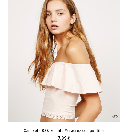 Camiseta BSK volante Veracruz con puntilla 7,99 €