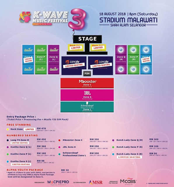 《K-WAVE 3 Music Festival Brought To You By Mcalls》 Seating Plan