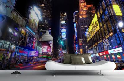 snygg fototapet new york times square natt stad fondtapet 3d