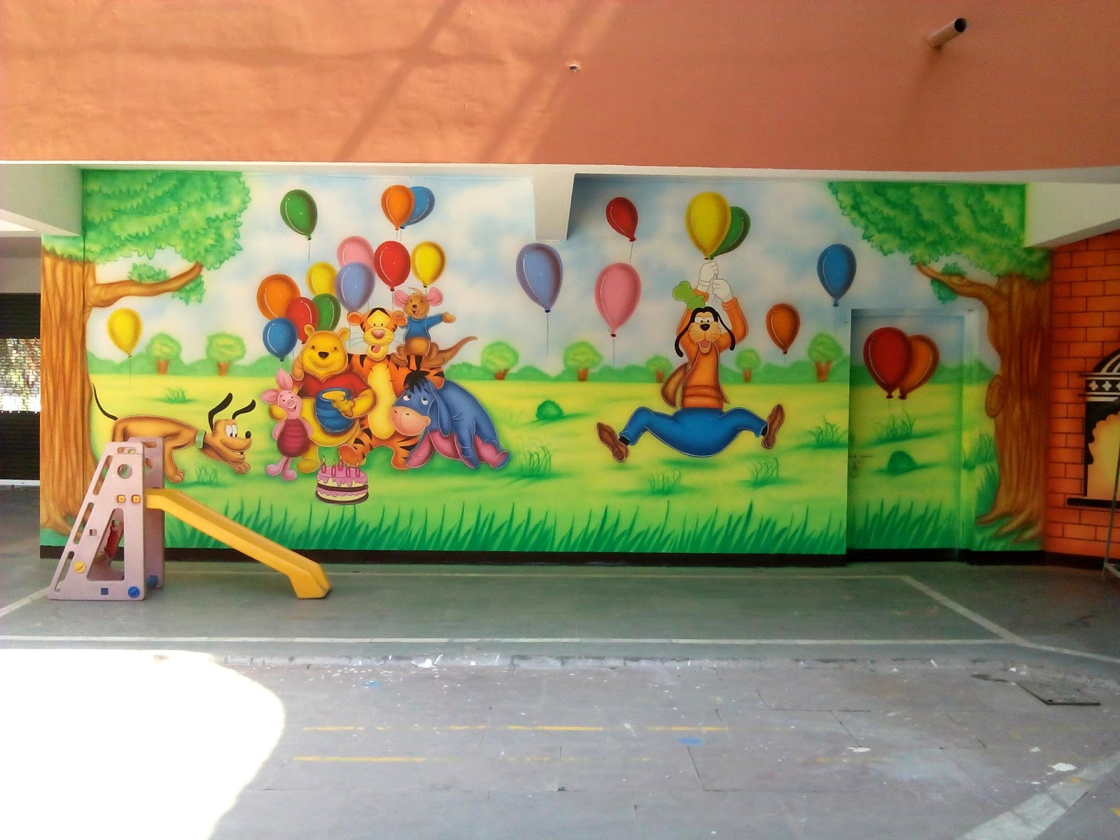 Wall Art For Play School : Play school wall painting and decoration