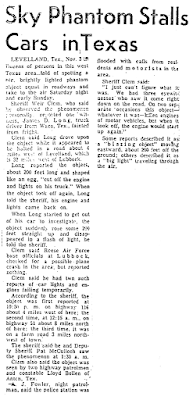 Sky Phantom Stalls Cars in Texas - Deseret News and Telegram 11-8-1957