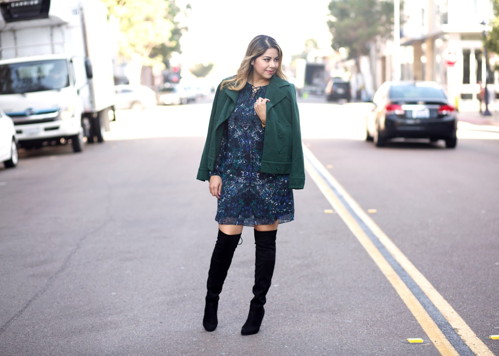 steve madden over the knee boots, affordable fall fashion, downtown san diego photoshoot, how to wear over the knee boots