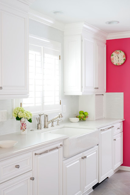 image result for pink and white kitchen with Top Knobs cabinet hardware