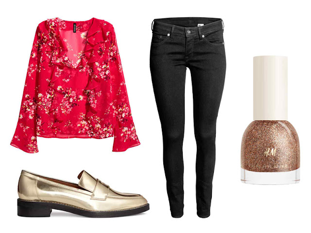 Chinese New Year Style Outfits H&M Frilled Blouse, Super Skinny Low Jeans, Nail Polish in shade Bijoux, Leather loafers