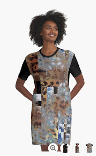geometric and animal print pattern mix t-shirt dress