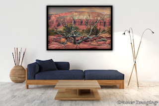 Photograph of Cramer Imaging's fine art photograph 'Solitude' on the wall of a living room or lounge setting