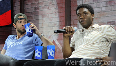Zachary Levi and Chadwick Boseman