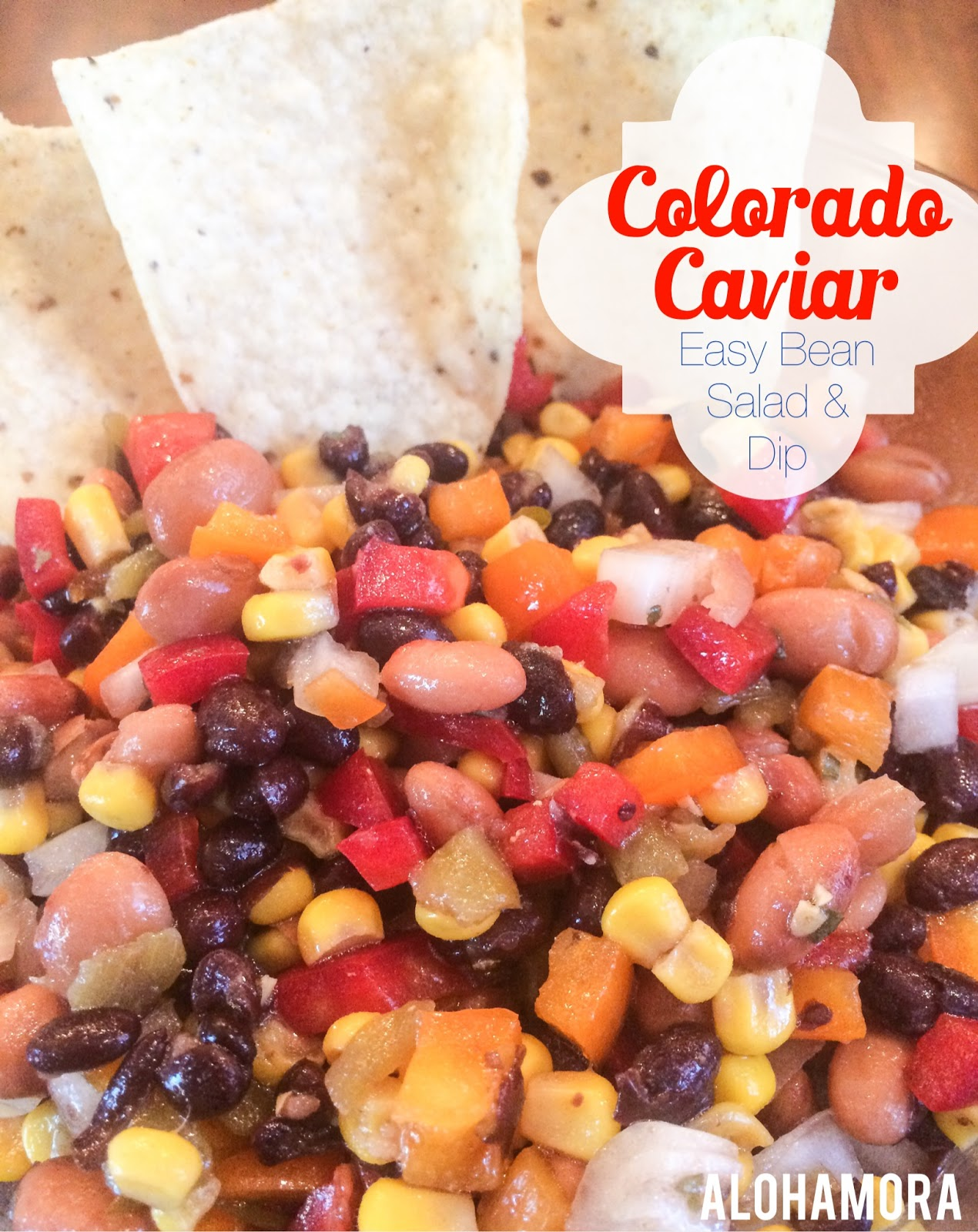 Colorado Caviar aka Cowboy Caviar aka Delicious bean salad dip that is hearty and a crowd pleaser perfect for Football games, potlucks, or just a weekend of fun salad dressing/salsa.   Super easy to make, make ahead, and enjoy for days.  It just gets better.  Alohamora Open a Book http://alohamoraopenabook.blogspot.com/