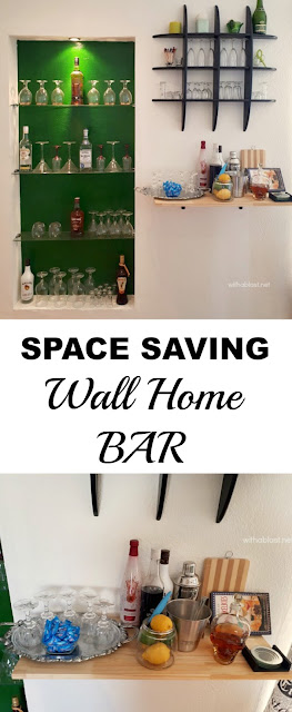 Black and Green Living / Dining room and a Space saving Home Bar