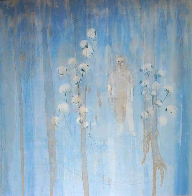 Oil painting mixed media art work with blue and cotton by Louisiana artist George Marks