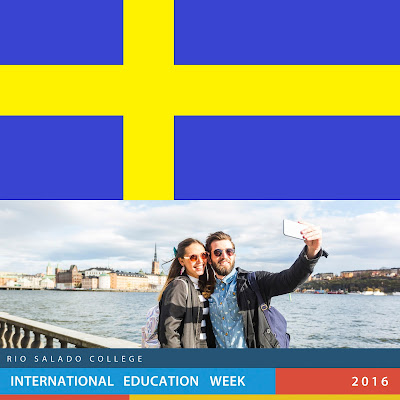 swedish flag (blue with yellow lines crossing over image of woman and man on bridge taking selfie and banner that says rio salado college international education week 2016
