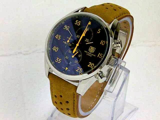 Jam TaG Heuer Space X Leather Silver Jarum Kuning