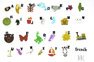 TomToy Multilingual French Alphabet I spy objects, I spy ABC trinkets, Language miniatures, A-Z phonics, Montessori alphabet box, letter sounds, speech therapy