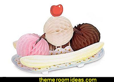 Banana Split Tissue Centerpiece  50s party ideas - 50s party decorations - 1950s Theme Party - 1950's Rock and  Roll Themed Party Supplies - 50s Rock and Roll Theme Party - 50s party decorations - 50s party props - 50s diner party  - 50s Costume
