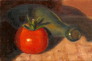 Oil painting of a red tomato in front of a pale green torpedo bottle.