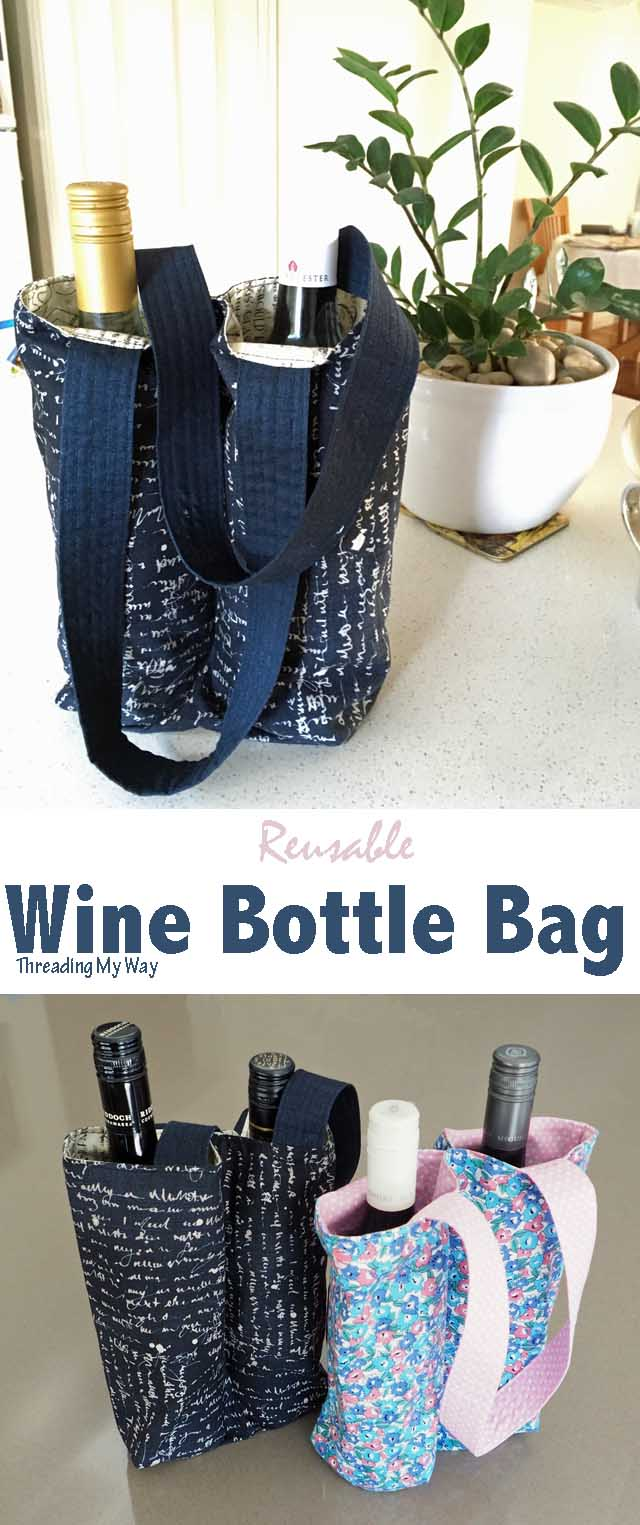 Make a reusable wine bottle gift bag ~ Threading My Way