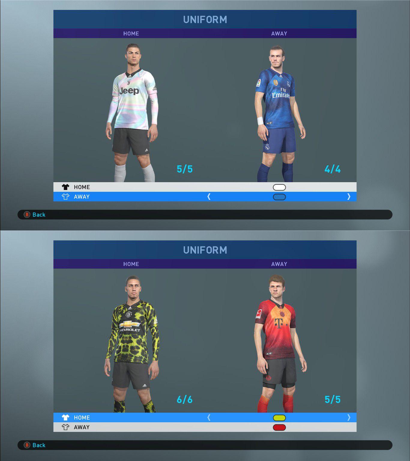 PES 2019 Adidas x EA Sports Bayern, Juventus, Manchester United and Real Madrid Kits
