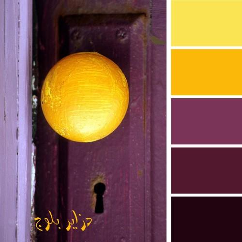 تناسق الالوان مع اللون الذهبي واللون الارجواني